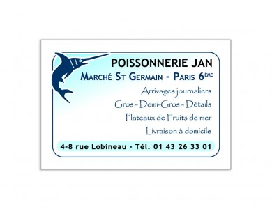 Carte de visite Poissonnerie JAN